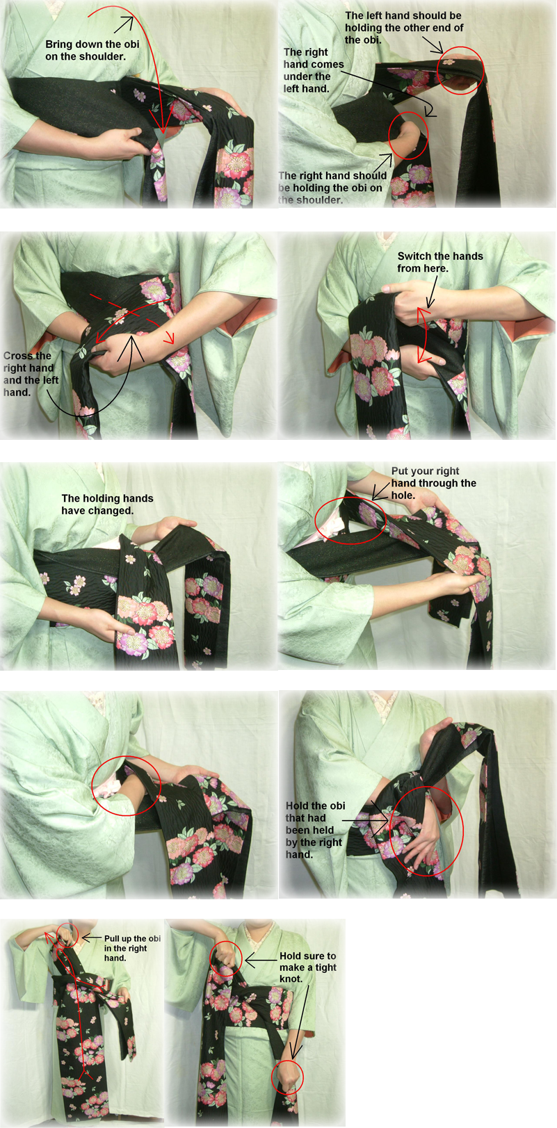 How to tie an obi 5
